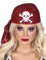 Cofia rayas rojas y negra pirata adulto