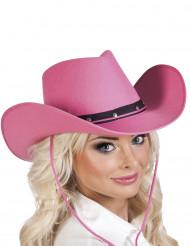 Sombrero vaquero rosa adulto