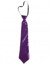Corbata lentejuelas violeta adulto