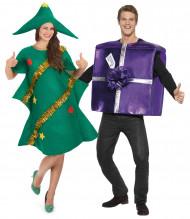 Disfraz pareja árbol de Navidad regalo violeta Navidad