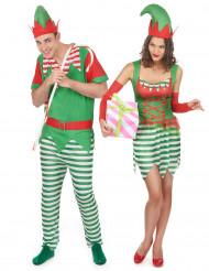 Disfraz pareja elfo Navidad adulto