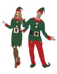 Disfraz pareja elfos de Papá Noel adultos