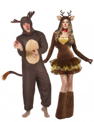 Disfraz pareja renos Navidad adulto