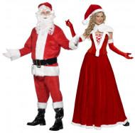 Disfraz de pareja Mamá y Papá Noel Deluxe adulto