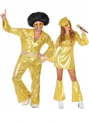 Disfraz pareja disco dorado
