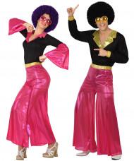Disfraz de pareja disco rosa adulto
