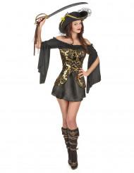 Disfraz de pirata mujer negro y dorado