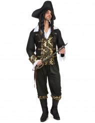 Disfraz de pirata hombre negro y dorado