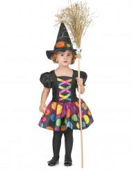 Disfraz de bruja con lunares multicolor niña