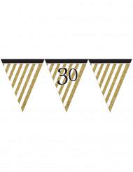 Guirnalda de banderines negro y dorado 30 años 3,7 m