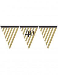 Guirnalda de banderines negro y dorado 40 años 3,7 m