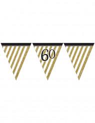 Guirnalda con banderines negro y dorado 60 años 3,7 m