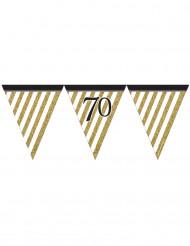 Guirnalda banderines negro y dorado 70 años 3,7 m