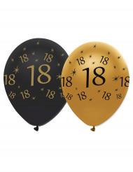 6 Globos negros y dorados látex 18 años