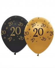 6 Globos látex negro y dorado 20 años