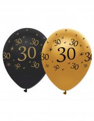 6 Globos de látex negro y dorado 30 años