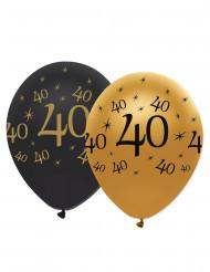 6 Globos negro y dorado 40 años