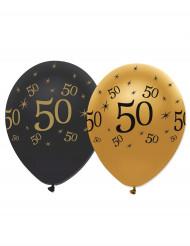 6 Globos negro y dorado látex 50 años