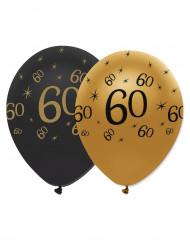 6 Globos látex negro y dorado 60 años