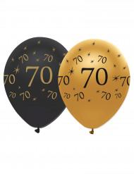 6 Globos negros y dorado látex 70 años