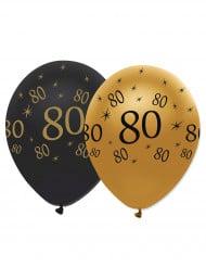 6 Globos negro y dorado látex 80 años