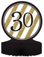 Centro de mesa 30 años negro y dorado