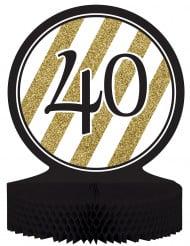 Centro de mesa 40 años negro y dorado