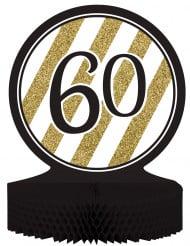 Centro de mesa 60 años negro y dorado