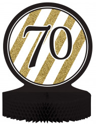 Centro de mesa 70 años negro y dorado