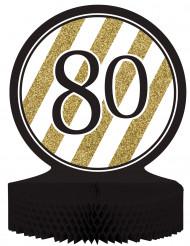 Centro de mesa 80 años dorado y negro