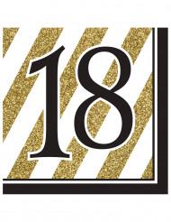 16 Servilletas 18 años negro y dorado 33x33 cm