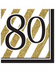 16 Servilletas doradas 80 años