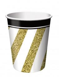 8 Vasos de cartón negro y dorado 266 ml