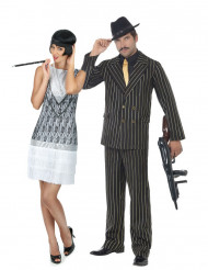 Disfraz de pareja gánster charlestón elegante adulto