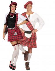 Disfraz de pareja escocesa corto adulto
