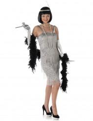 Disfraz de charlestón plateado mujer