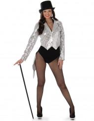 Disfraz de cabaret plateado mujer