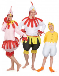 Disfraz de familia gallo, gallina y pollito