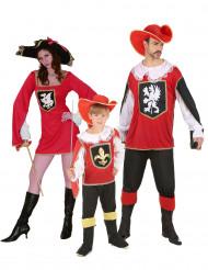Disfraz de familia Mosqueteros rojos
