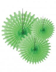 3 Rosetones papel verde 20 30 y 40 cm