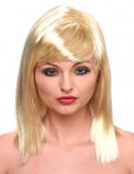 Peluca rubia melena recta para mujer