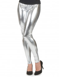 Pantalón legging plateado mujer