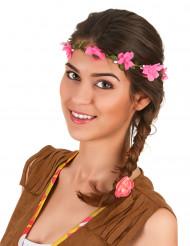 Corona flores rosas adulto