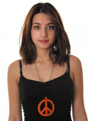 Collar colgante peace naranja adulto