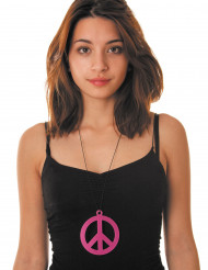 Collar peace rosa fluorescente adulto