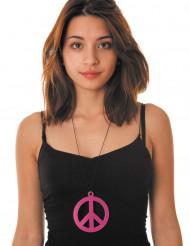 Collar peace rosa fluorescente adulto