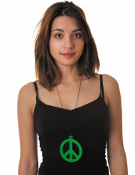 Collar peace verde fluorescente adulto