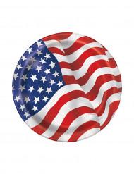 8 Platos pequeños cartón bandera USA 17 cm