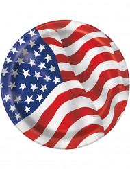 8 Platos cartón bandera USA