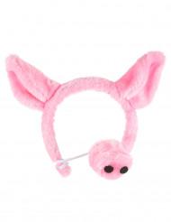 Diadema y nariz de cerdo para adulto